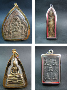 Lot with 4 pendants Buddhist amulets - Thailand -  second half 20th and 21st century