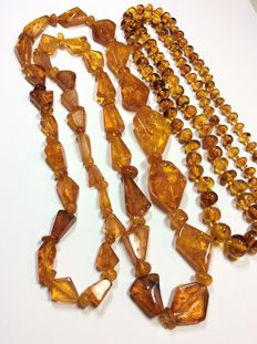 Natural amber convolute, 2 necklaces, no pressed amber, 22.3 g