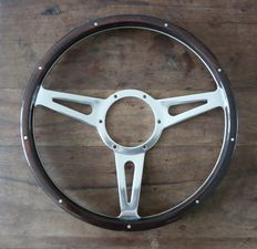 Genuine Original Mountney 13 inch (33cm) Dark Wood Riveted Steering Wheel