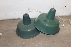 unkown designer - Polish green enamel industrial factory lights, set of two pieces ( lot 2)