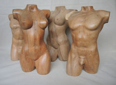 Sculpture; 4 nude torso's (2 couples man / female) - Late 20th century