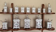 14 piece Spice rack of rolled Bavaria porcelain with stamp - Germany - excellent condition - circa 1960