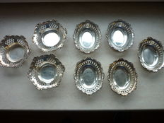 8 silver German chocolate bowls, Wilhelm Binder, Schwäbisch Gmünd, the 50's