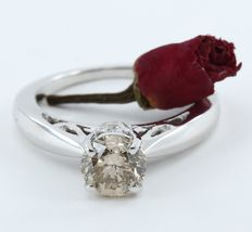 White gold 1.49 ct. Center Solitaire Fancy Brown Diamond with side diamonds of 0.19 ct. Exclusive Engagement ring design