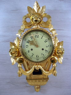 Swedish handcut gold-plated cartel clock in Rococo style - 1960's