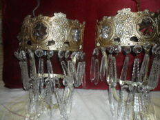 Beauty Old wall hanging lamps with mirror on the inside-Greece 1900