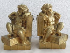 Set of 2 Cherub gold marble bookends