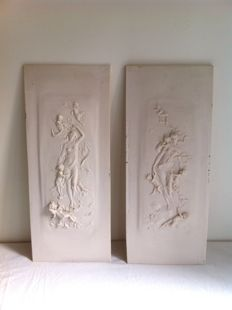 Replica French marble relief panels with seal.