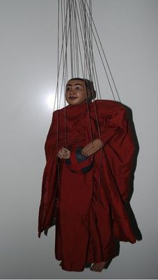 Original, authentic puppet on a string of a monk