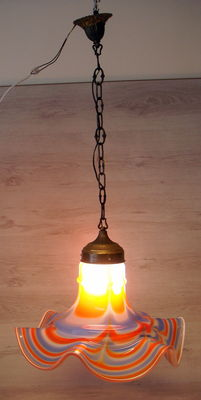 Art Deco colourful hand-blown glass vintage pendant lamp