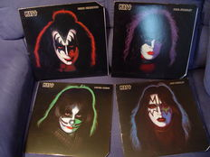 Lot of 4 LP's of Kiss: soloalbums of the members Paul, Peter, Gene and Ace