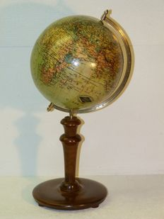 Columbus earth globe with wooden stand, height 40 cm