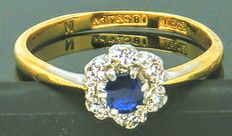 Antique Cluster Ring - 18K Yellow Gold 6 Diamonds & 1 Sapphire set in Platinum 0.31 CT SI1I