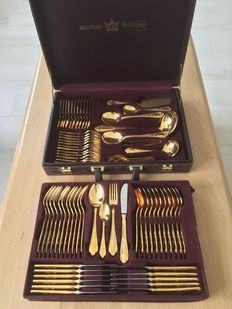 SBS Solingen 23/24 hard gold-plated 12 persons, 70-piece cutlery case Model Gloria Royal,