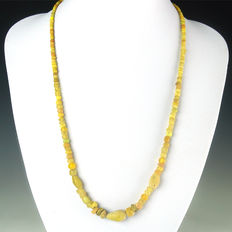 Necklace with Roman yellow glass beads - 56 cm