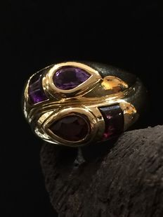 18 kt Gold ring with Amethysts and Rhodolite Garnet, size 48.5