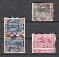 Saar area 1921 - free stamp country pictures - 3 variants with various rarities of oddities/erroneous prints - Michel 66I + 71A Kdr. III + 89, strongly perforated