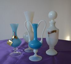 4 opaline bottles, Murano, Florence and France - France and Italy, XX e
