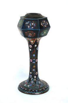 Bronze, cloisonné lamp; Japan; ca. 1900