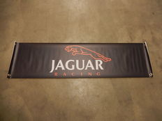 Large Black Red and White Jaguar Leaper Jaguar Racing Car Auto Workshop Banner 1300 mm x 330 mm with Reinforced Eyelets Strong and Waterproof