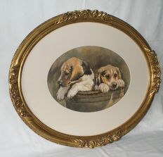 Beautiful frame with painting by Marion Hens - (1957 - present) - dogs in the basket
