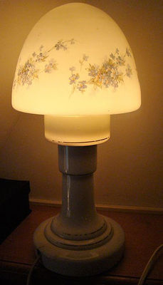 Rare antique Opaline mushroom lamp, France, approx.1920