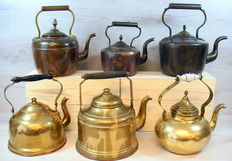 Selection of 6 yellow and red copper kettles - The Netherlands - 20th century