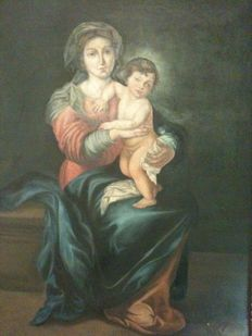 Oil painting on canvas, subject: Madonna and Child, country: Italy, period: 19th century