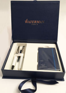 Waterman Expert III (3)  DeLuxe pen set ~ White lacquer with finely chiseled metal cap CT ~ Mint