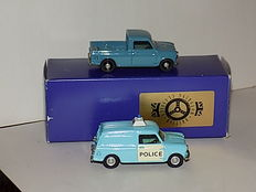 British Motoring Classics - Schaal 1/43 -  2 x Mini:  Police en Royal Air Force (RAF)