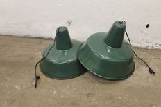 unkown designer - Polish green enamel industrial factory lights, set of two pieces (lot 1)