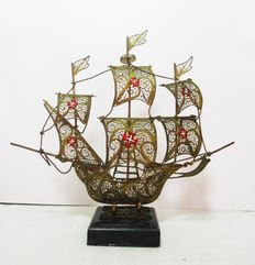 Filigree Caravel on marble stand
