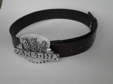 Men's belt with buckle of vintage 1940s Zandonà tractor logo