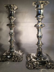 Pair of silver candle stands, Henry Wilkinson, Sheffield, 1836