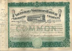 2 x Louisville and Northern Railway and Lighting Co. 1906 and 1907. Signed by Samuel Insull (1859 – 1938)