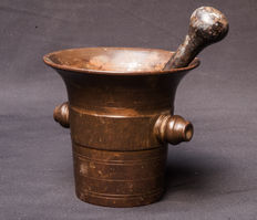 A bronze mortar with knobs and pestle-Holland-early 19th century