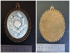 Blue rose brass cameo - Large old pendant.