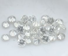 30 Round Brilliant Mix Color Diamonds – 0.94 ct