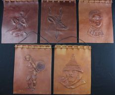 5 leather wall decorations – Former Belgian Congo