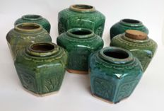 Eight ginger jars - Celadon glaze - early and mid 20th century- China