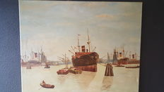 Old oil painting - Harbour view