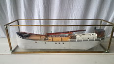 1950's merchant ship (unique, carved from one piece of wood)