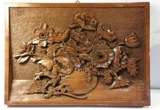 Wood panel - Notch cut with flowers - Artist unknown -
