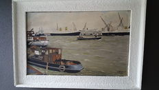 Harbour view signed oil painting by van Wijk 1956