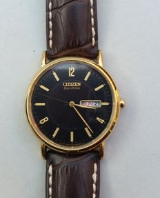 Citizen Eco Drive - men's -Black dial - in new condition with new leather strap from Hirsch.