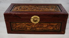 Hand-carved wooden Chinese camphor chest - mid 20th century