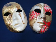 2 Venetian paper masks-with stickers
