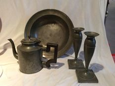 Pewter candlesticks, teapot and dish - mid 19th century and later