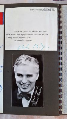 Charlie Chaplin - actor and burlesque director - authentic signature/ signed letter with extra photograph with pre-printed signature - Switzerland 13th of July 1953