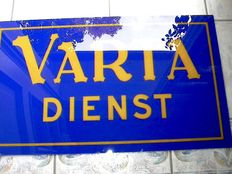 Glas advertising sign Varta-Dienst - 42 x 72 cm - around 1930
